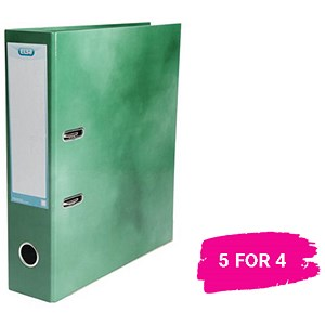 Image of Elba A4 Lever Arch File / Laminated Gloss Finish / 70mm Spine / Green / 5 for the Price of 4