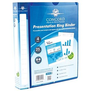 Image of Concord Executive Presentation Ring Binder / 4 D- Ring / 40mm Spine / 25mm Capacity / A4 / Blue / Pack of 10