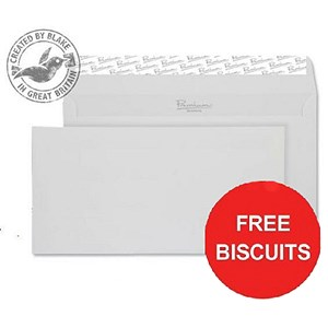 Image of Blake Premium DL Wallet Envelopes / Smooth Finish / Diamond White / Peel & Seal / 120gsm / Pack of 500 Offer Includes FREE Biscuits