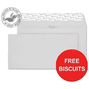 Image of Blake Premium DL Wallet Envelopes / Diamond White / Peel & Seal / 120gsm / Pack of 500 / Offer Includes FREE Biscuits
