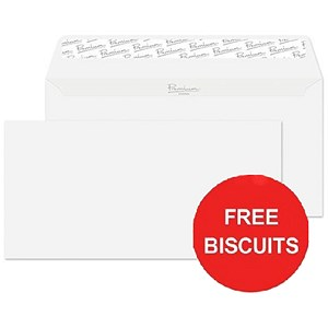 Image of Blake Premium DL Wallet Envelopes / Wove High White / Peel & Seal / 120gsm / Pack of 500 / Offer Includes FREE Biscuits