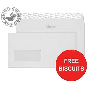 Image of Blake Premium DL Wallet Window Envelopes / Finish High White / Peel & Seal / 120gsm / Pack of 500 / Offer Includes FREE Biscuits