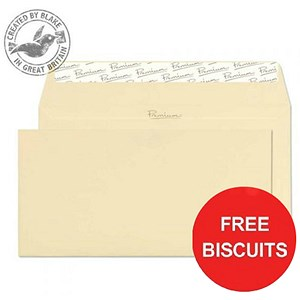 Image of Blake Premium DL Wallet Envelopes / Vellum Laid / Peel & Seal / 120gsm / Pack of 500 / Offer Includes FREE Biscuits