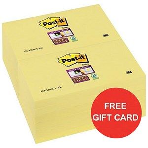 Image of Post-it Super Sticky Colour Notes / 76x76mm / Yellow / Pack of 12 x 90 Notes x 2 / Claim a FREE Gift Card