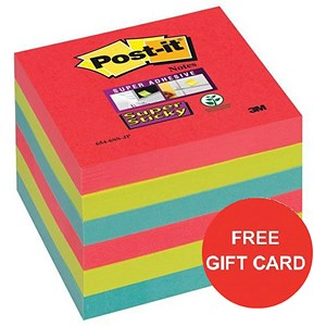 Image of Post-it Super Sticky Colour Notes / 76x76mm / BoraBora / Pack of 6 x 90 Notes x 2 / Claim a FREE Gift Card