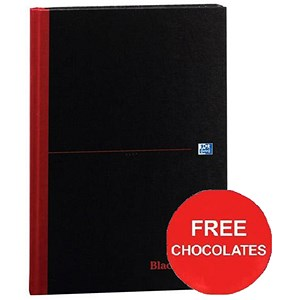 Image of Black n' Red Casebound Notebook / A4 / Ruled / 192 Pages / Pack of 5 / Offer Includes FREE Chocolates