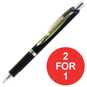 Image of Pentel EnerGel Xm Rollerball / Permanent / 0.5mm Tip / 0.25mm Line / Retractable / Blue / Pack of 12 / Buy One Get One FREE