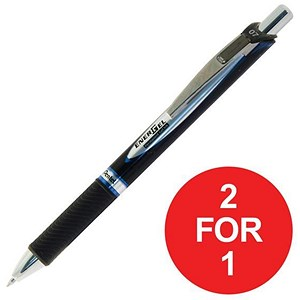 Image of Pentel EnerGel Xm Rollerball / Permanent / 0.7mm Tip / 0.35mm Line / Retractable / Blue / Pack of 12 / Buy One Get One FREE