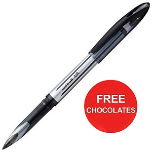 Image of Uniball AIR UBA-188L Rollerball Pens / Black / Pack of 12/ Offer Includes FREE Chocolates