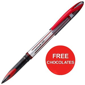 Image of Uniball AIR UBA-188L Rollerball Pens / Red / Pack of 12 / Offer Includes FREE Chocolates