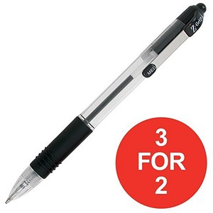 Image of Zebra Z-Grip Medium Retractable Ball Pen / Metal Clip / Black / Pack of 12 / 3 for the price of 2