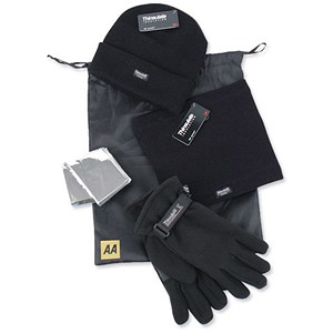 Image of AA Winter Warmer Kit of Hat/Gloves/Neck-Warmer and Foil Blanket Ref 5060114613140