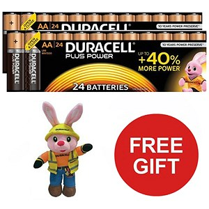 Image of Duracell Plus Power Battery / Alkaline / 1.5V / AA / 24 Pack x 2 / Offer Includes FREE Duracell Bunny