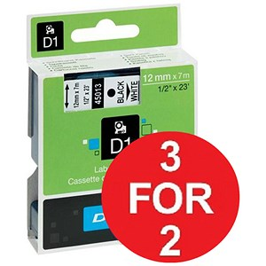 Image of Dymo D1 Tape for Electronic Labelmakers / 12mmx7m / Black on White / 3 for the price of 2