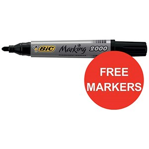 Image of Bic Marking 2000 Permanent Marker / Bullet Tip / Black / Pack of 12 / Offer Includes FREE Markers