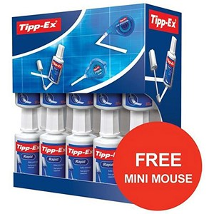 Image of Tipp-Ex Rapid Correction Fluid / Fast-drying / 20ml / Pack of 20 / Offer Includes 3 FREE Mini Pocket Mouse