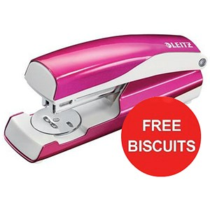 Image of Leitz WOW Stapler / 3mm / 30 Sheet Capacity / Pink / Offer Includes FREE Biscuits