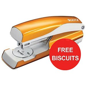 Image of Leitz WOW Stapler / 3mm / 30 Sheet Capacity / Orange / Offer Includes FREE Biscuits