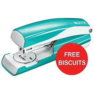 Image of Leitz WOW Stapler / 3mm / 30 Sheet Capacity / Ice Blue / Offer Includes FREE Biscuits