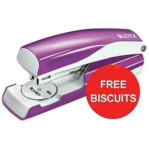 Image of Leitz WOW Stapler / 3mm / 30 Sheet Capacity / Purple / Offer Includes FREE Biscuits