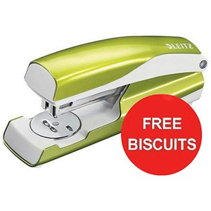 Image of Leitz WOW Stapler / 3mm / 30 Sheet Capacity / Green / Offer Includes FREE Biscuits