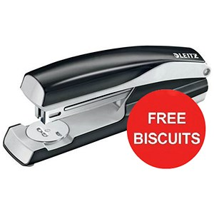 Image of Leitz NeXXt Stapler / 4mm / 40 Sheet Capacity / Black / Offer Includes FREE Biscuits
