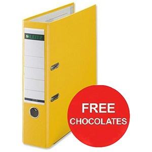 Image of Leitz A4 Lever Arch Files / Plastic / 80mm Spine / Yellow / Pack of 10 / Offer Include FREE Chocolates