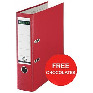 Image of Leitz A4 Lever Arch Files / Plastic / 80mm Spine / Red / Pack of 10 / Offer Include FREE Chocolates