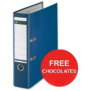Image of Leitz A4 Lever Arch Files / Plastic / 80mm Spine / Blue / Pack of 10 / Offer Include FREE Chocolates