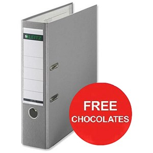 Image of Leitz A4 Lever Arch Files / Plastic / 80mm Spine / Grey / Pack of 10 / Offer Include FREE Chocolates