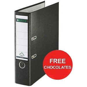 Image of Leitz A4 Lever Arch Files / Plastic / 80mm Spine / Black / Pack of 10 / Offer Include FREE Chocolates