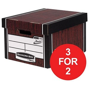 Image of Fellowes Bankers Box / Premium 725 Classic Box / Woodgrain / Pack of 10 / 3 for the price of 2