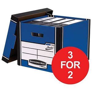 Image of Fellowes Bankers Box / Premium 726 Classic Box / Blue & White / Pack of 10 / 3 for the price of 2