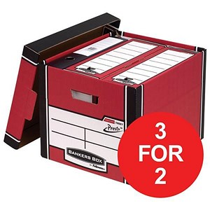 Image of Fellowes Bankers Box / Premium 726 Classic Box / Red & White / Pack of 10 / 3 for the price of 2