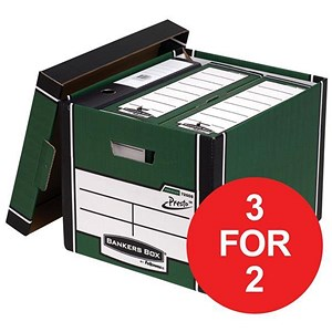 Image of Fellowes Bankers Box / Premium 726 Classic Box / Green & White / Pack of 10 / 3 for the price of 2
