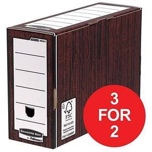 Image of Fellowes Bankers Box / Premium Transfer File / Woodgrain / Pack of 10 / 3 for the price of 2