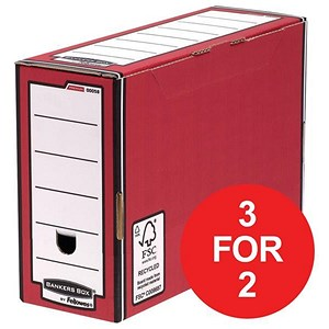 Image of Fellowes Bankers Box / Premium Transfer File / Red & White / Pack of 10 / 3 for the price of 2