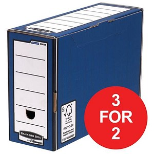 Image of Fellowes Bankers Box / Premium Transfer File / Blue & White / Pack of 10 / 3 for the price of 2