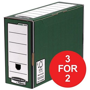Image of Fellowes Bankers Box / Premium Transfer File / Green & White / Pack of 10 / 3 for the price of 2