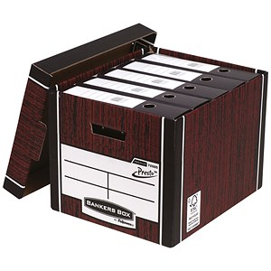 Image of Fellowes Bankers Box Premium 726 Archive Storage Boxes / Woodgrain / Pack of 10