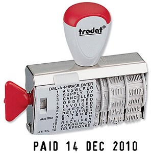 Image of Trodat 1117 Dial-A-Word Line Dater Stamp - Single-line