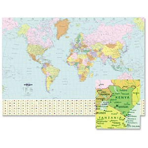 Image of Map Marketing World Political Map Unframed W1236xH866mm Ref BEX