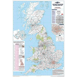 Image of Map Marketing Postcode Areas Map Unframed 12.5 Miles/inch Scale W830xH1200mm Ref BIPA
