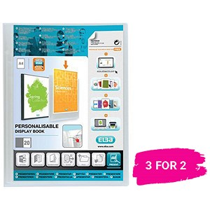 Image of Elba Polyvision Display Book / 20 Clear Pockets / Clear / A4 / 3 for the price of 2