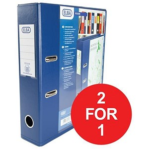 Image of Elba A4 Lever Arch Files / Clear PVC Cover / Blue / Pack of 10 / Buy One Get One FREE