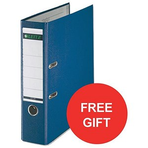 Image of Leitz A4 Lever Arch Files / Plastic / 80mm Spine / Blue / Pack of 50 / Offer Includes FREE Rexel Strip+ Lamp