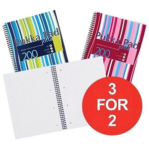 Image of Pukka Pad Jotta Wirebound Notebook / A4 / 4 Holes / Ruled / 200 Pages / Assorted / 3 Packs for 2 / 3 packs for the price of 2