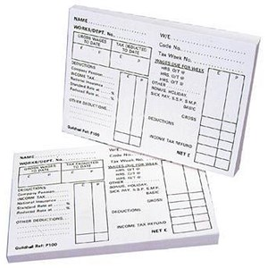 Image of Guildhall PAYE Wages Slips Pad P100Z / 100 Leaf / Pack of 5