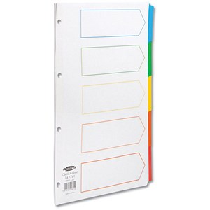 Image of Concord Index Dividers / 5-Part / Multicoloured Mylar Tabs / A4 / White