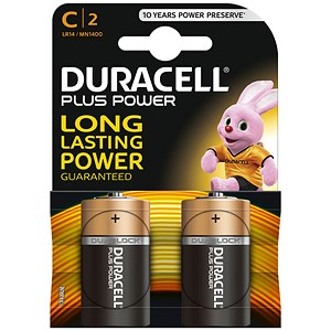 Image of Duracell Plus Power Alkaline Battery / 1.5V / C / Pack of 2
